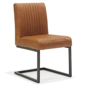 Schwingstuhl in Cognac Braun Kunstleder Stahl Schwarz (4er Set)