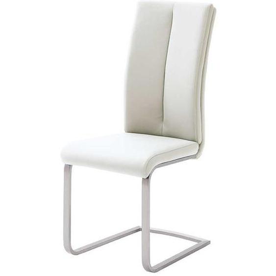 Schwingstuhl in Kunstleder Weiß Edelstahl (4er Set)