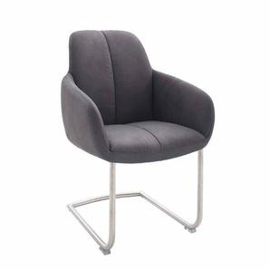 Schwingstuhl Sessel in Grau Edelstahl (2er Set)