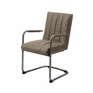 Schwingstuhl Sessel in Taupe Kunstleder Edelstahl (2er Set)