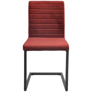 Schwingstuhl Set in Rot Samtbezug Stahl (2er Set)