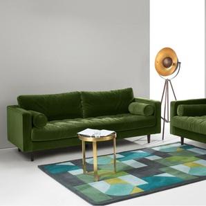 Scott 3-Sitzer Sofa, Samt in Grasgruen
