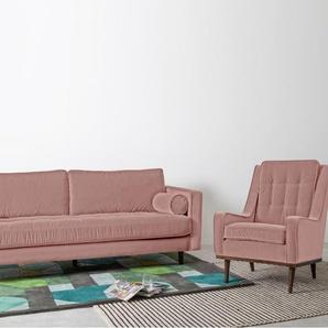 Scott 3-Sitzer Sofa, Samt in Zartrosa