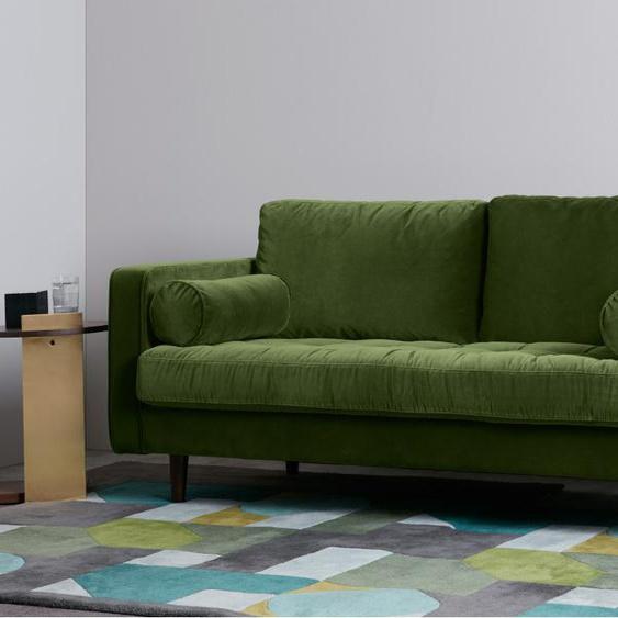 Scott breites 2-Sitzer Sofa, Samt in Grasgruen