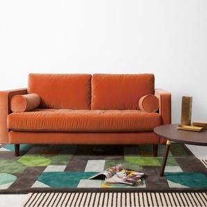 Scott breites 2-Sitzer Sofa, Samt in Rostorange