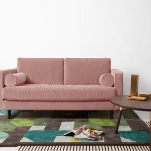 Scott grosses 2-Sitzer Sofa, Samt in Zartrosa