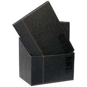 Securit Trendy Range Menükartenbox mit 20 Karten im A4-Format, je 1 doppelseitiger Einleger, Schwarz