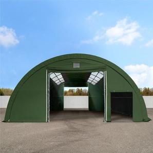 Sehr stabile Rundbogenhalle 9,15m x 10m x 4,5m - PVC 720 g/m² mit Oberlichtern, dunkelgrün