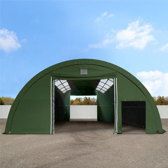 Sehr stabile Rundbogenhalle 9,15m x 10m x 4,5m - PVC 720 mit Oberlichtern, dunkelgrün