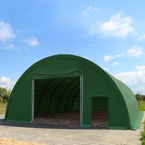 Sehr stabile Rundbogenhalle 9,15m x 20m x 4,5m - PE 350 g/m² dunkelgrün