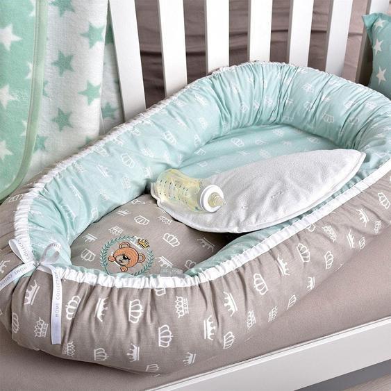 SEI Design Kuschelnest Füllung: Faserbällchen (1-tlg.) Einheitsgröße silberfarben Baby Nestchen Babybettausstattung Babymöbel Bettnestchen