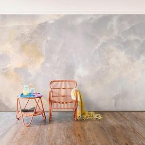 Halbglänzende Tapete Onyx Marmor Grau Wand