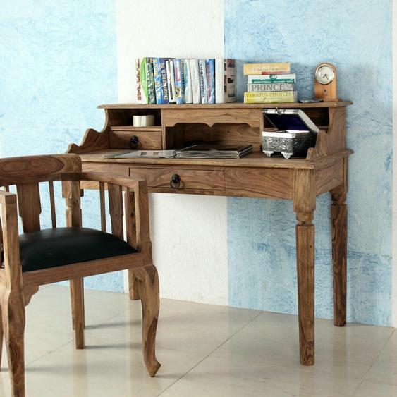 Sekretär Bombay 6038 Schreibtisch Massivholz Sheesham Natur Von Wolf