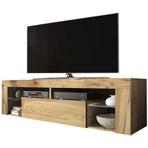 Selsey Bianko – TV-Lowboard / Fernsehschrank Stehend mit Klapptür , Holzoptik Eiche Lancaster, 35 x 140 x 51 cm