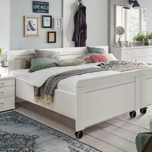 Weißes Doppelbett in Komforthöhe mit Rollen 180x200 cm - Calimera