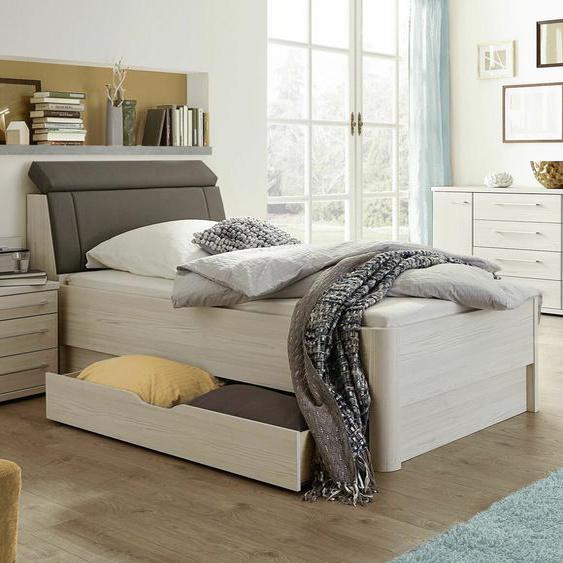 Senioren-Schubkastenbett Usingen, Lärche hell, 100x200 cm, Bettrahmenhöhe 48  cm – mit Kopfteil-Bettkasten