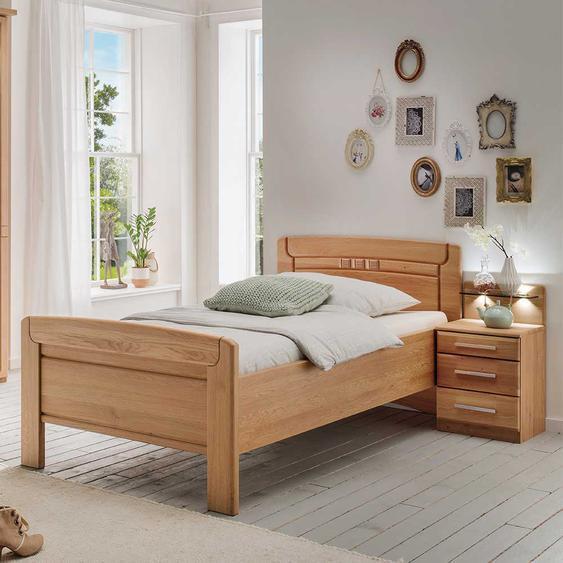 Seniorenbett aus Eiche teilmassiv Nachtkommode (2-teilig)