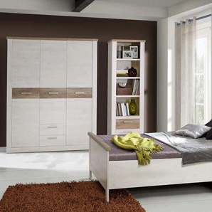 Seniorenzimmer, Komfortzimmer, Pinia weiß / Eiche antik NB, Bett Liegefläche 100 x 200 cm, 3-trg. Drehtürenschrank B: 170,8 cm, Nachtschrank B: 50 cm