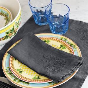 Serviette anthrazit - bunt - 100 % Leinen - Tischwäsche