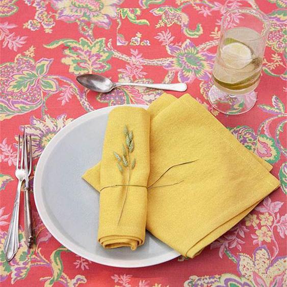 Serviette zitronengelb - bunt - 100 % Baumwolle - Tischwäsche
