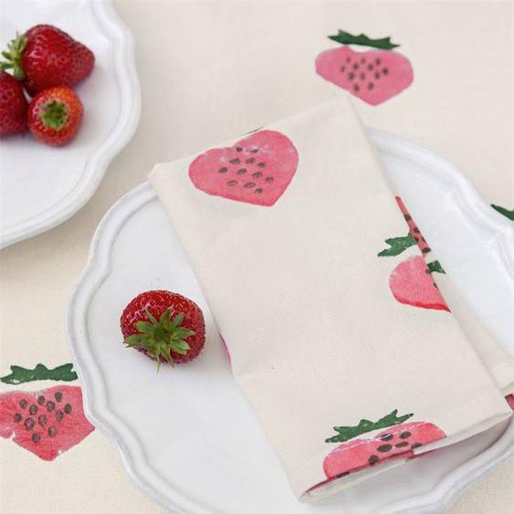 Serviettenset Strawberry - bunt - 100 % Baumwolle - Tischwäsche