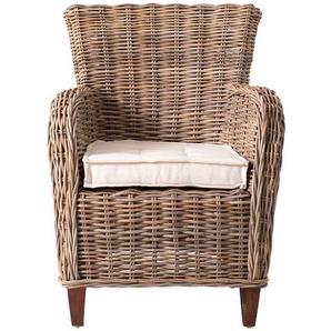 Sessel aus Rattan Mahagoni Massivholz (2er Set)