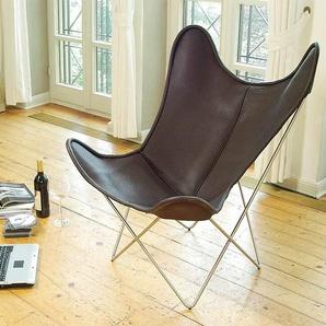 Sessel Butterfly Chair Manufakturplus braun, Designer Jorge Ferrari-Hardoy, 89x84x74 cm