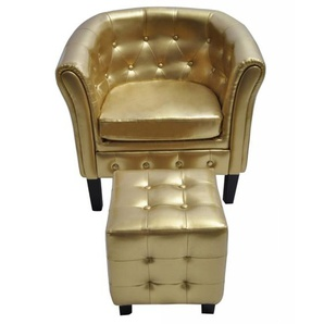 Chesterfield-Sessel mit Hocker