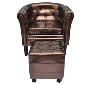 Chesterfield-Sessel mit Hocker