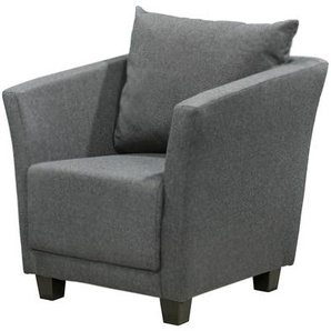Sessel in anthrazitfarbenem Webstoff mit Rückenkissen, Füße Kunststoff Maße: B/H/T ca. 72/71/73 cm