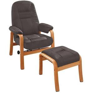 Sessel in Braun und Buchefarben Kunstlederbezug (2-teilig)