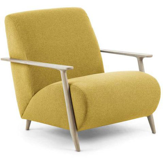 Sessel in Gelb Webstoff Esche Massivholz