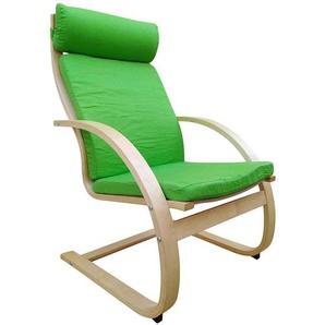 Sessel in Grün Webstoff Wippfunktion