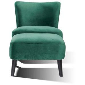 Sessel in Gr�n Samt Fu�hocker (2-teilig)