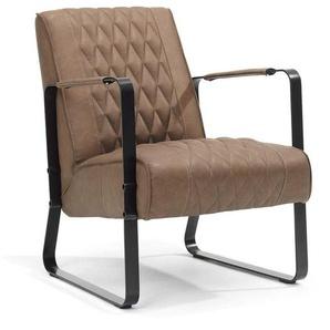 Sessel in Kunstleder Braun Metall