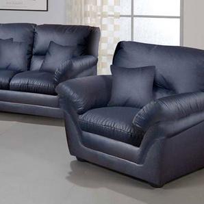 Sessel in Kunstleder schwarz, mit einer Nosagfederung, Maße: B/H/T ca. 112/92/89 cm