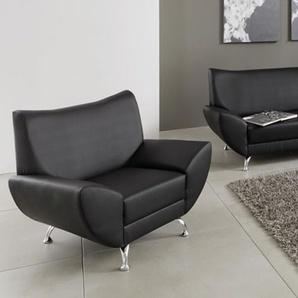 Sessel in Kunstleder schwarz, mit einer Wellenunterfederung und Komfortschaum, modische Metallfüße, Maße: B/H/T ca. 112/80/82 cm