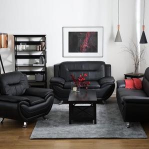 Sessel Kunstleder schwarz LEIRA