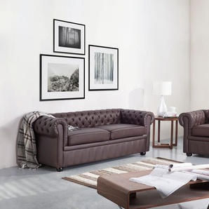 Sessel Leder braun CHESTERFIELD