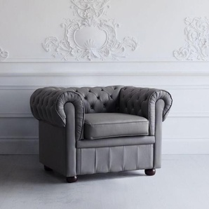 Sessel Leder grau CHESTERFIELD