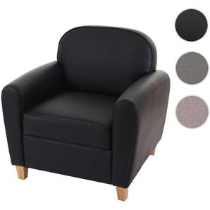 Sessel Malm T377, Loungesessel Polstersessel, Retro 50er Jahre Design ~ schwarz, Kunstleder