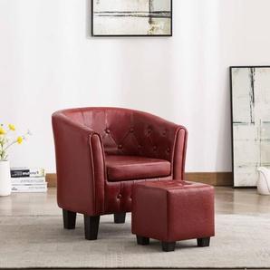 Sessel mit Fußhocker Kunstleder Weinrot