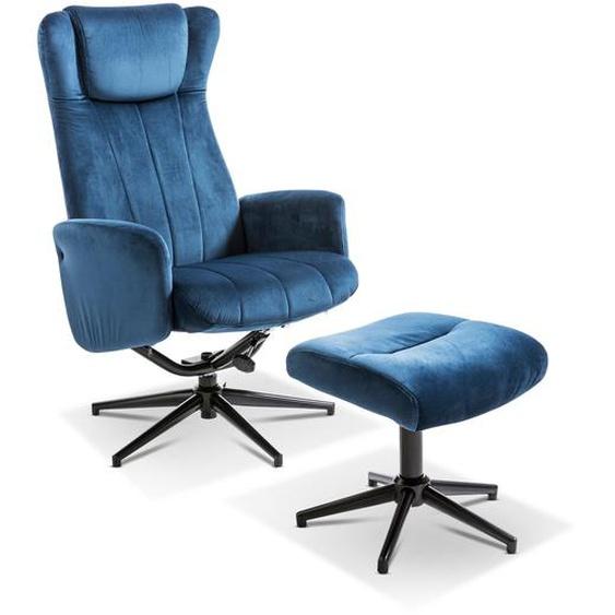 Sessel mit Hocker, Blau, Stoff
