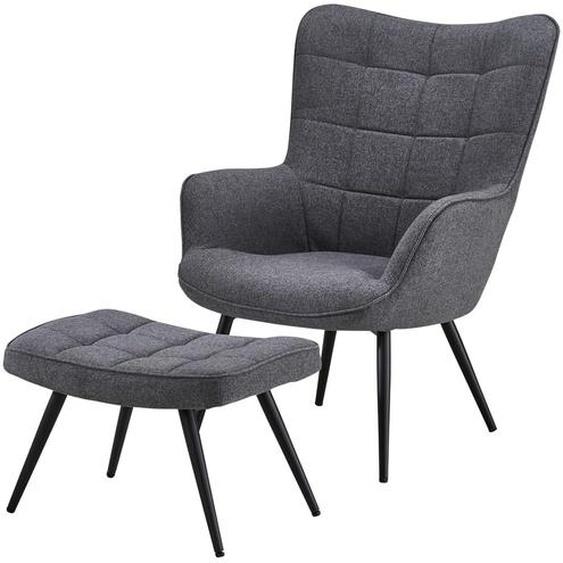 Sessel mit Hocker ¦ grau