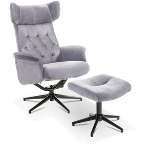 Sessel mit Hocker, Grau, Stoff