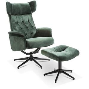Sessel mit Hocker, Grün, Stoff
