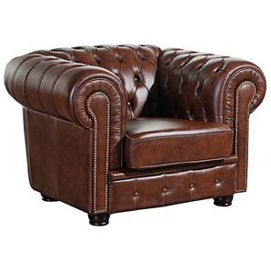 Sessel NORWIN-23 Wischleder Farbe braun Sitzhärte fest B: 110cm T: 98cm H: 74cm