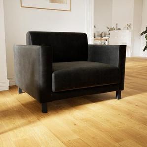 Sessel Samt Schwarz - Eleganter Sessel: Hochwertige Qualität, einzigartiges Design - 104 x 75 x 98 cm, Individuell konfigurierbar