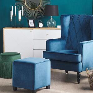 Sessel Samtstoff blau plus Hocker SANDSET
