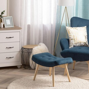 Sessel Samtstoff blau plus Hocker VEJLE